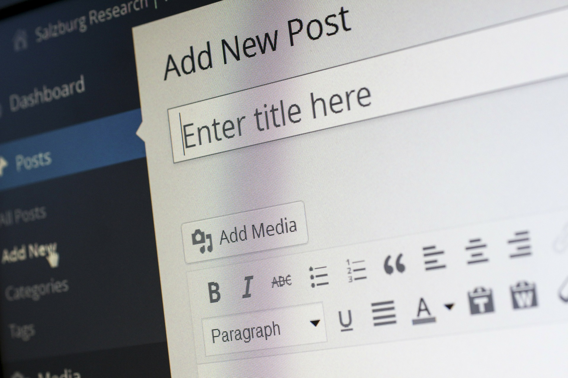 typing new content into wordpress