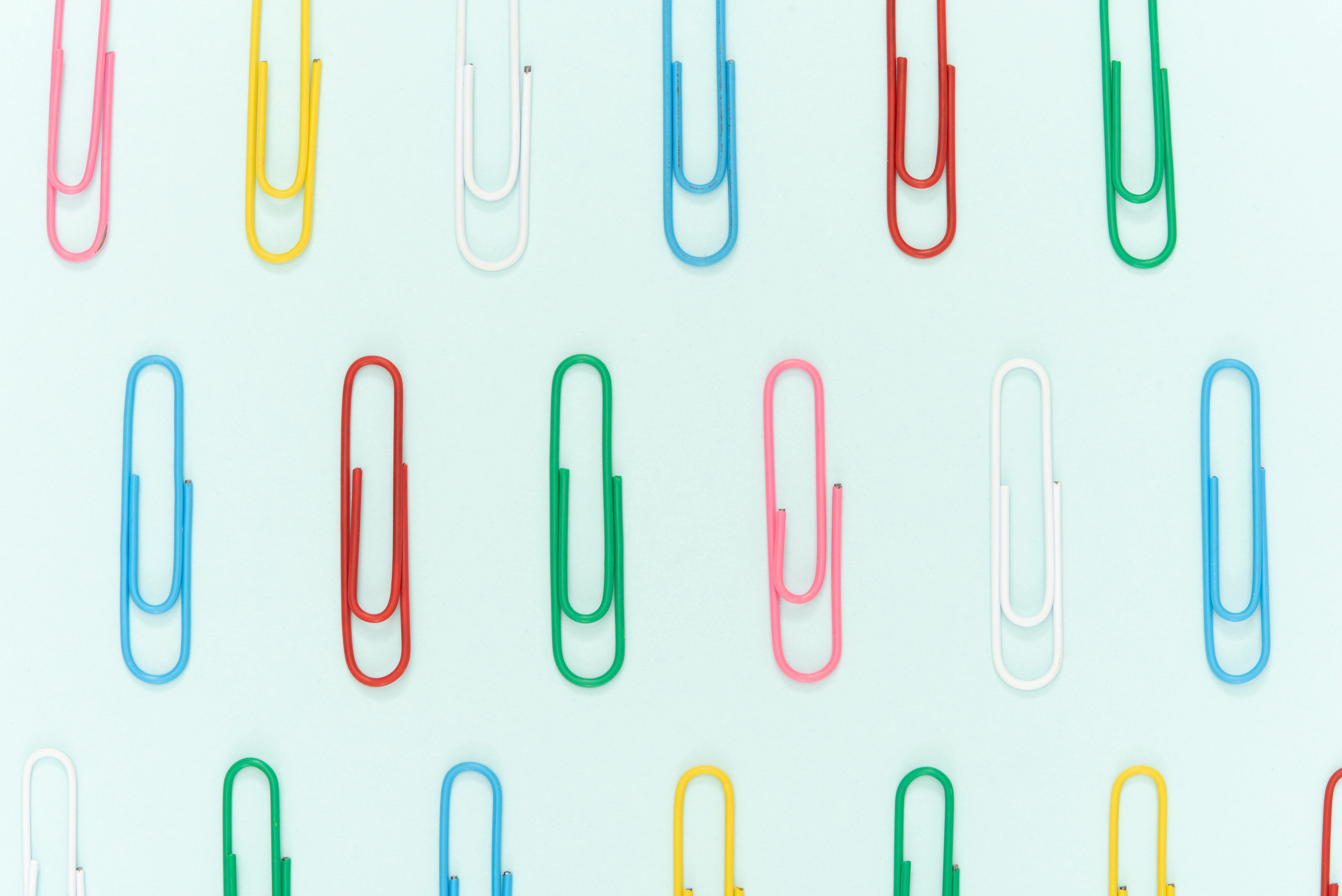 Bright Coloured Paperclip Flatlay