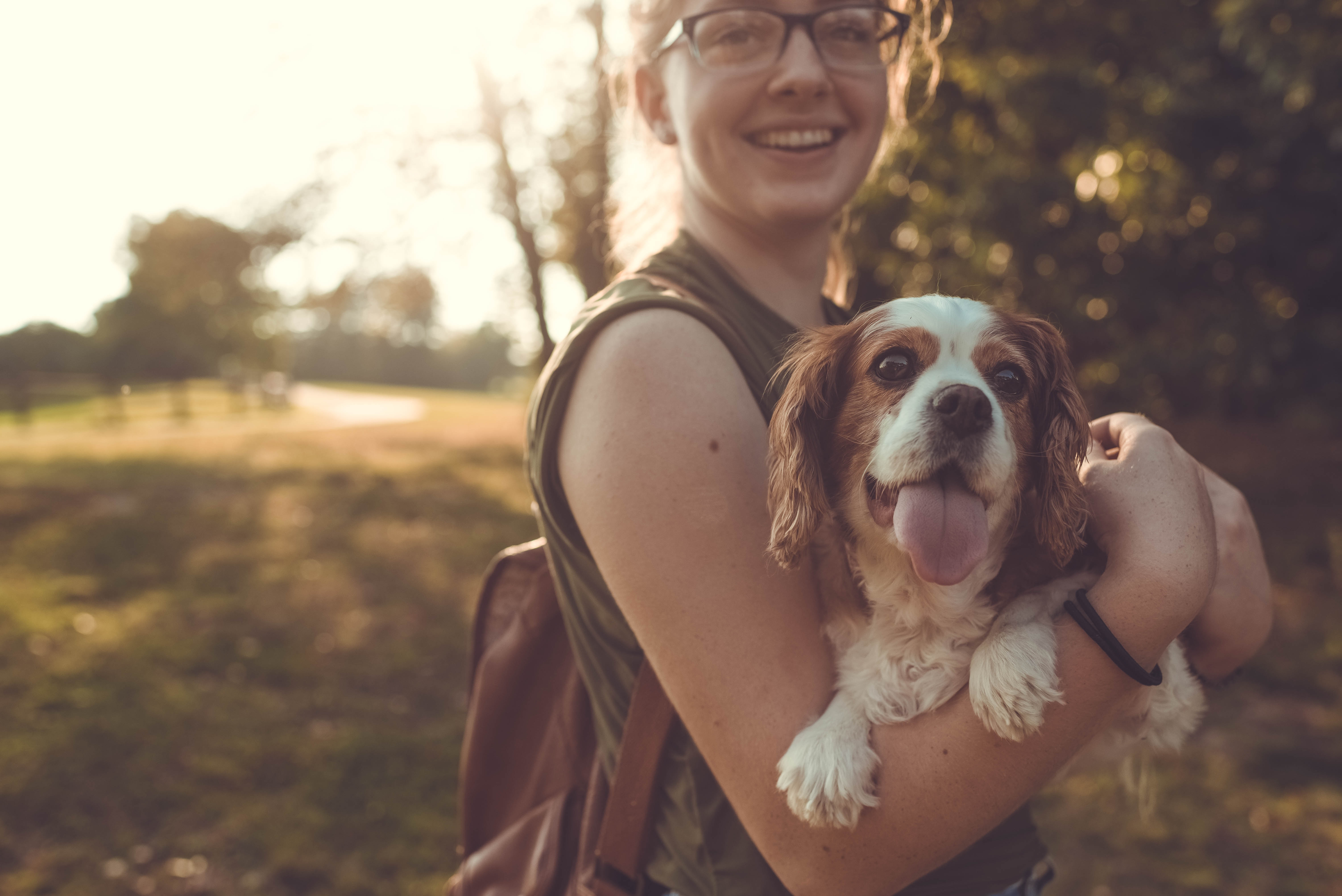 Young Woman Hugging Spaniel